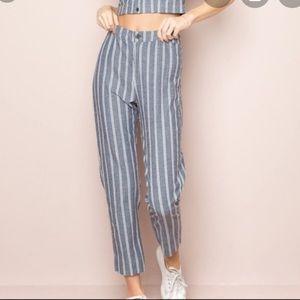 Brandy Melville blue and white striped Tilden pant